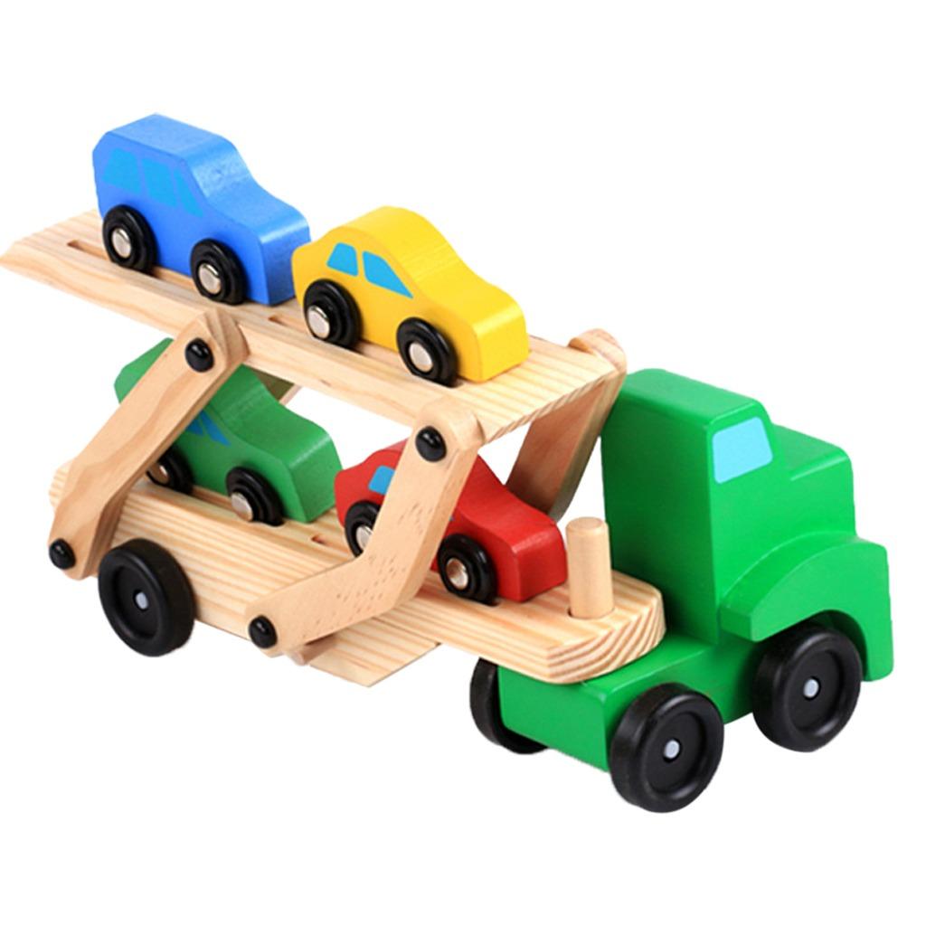 Pequeños Niños Madera Carrier Camión4 Coches Blocks 1 35jcLq4AR