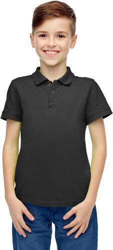 niños negro corto manga polo camisa - tamaño 6 caso paquet