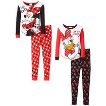 Bellos Pijamas De Disney Minnie Talla 4 Dobles