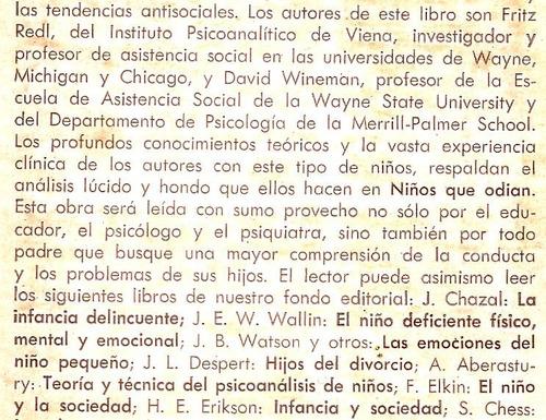 niños que odian  .-. fritz redl y david wineman.-.ed. paidós