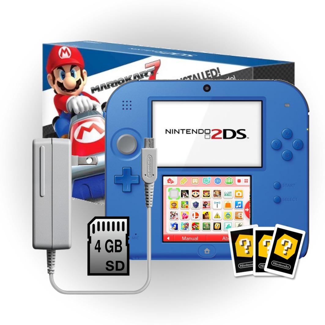 Nintendo 2ds Azul Negro Mario Kart 7 Incluye Juegos Gratis
