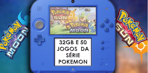 nintendo 2ds + pokemon sun and moon e mais 48 jogos pokemon