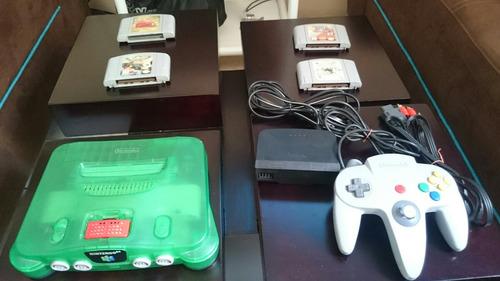 nintendo 64 green combo + 3 juegos +control+expansion n64