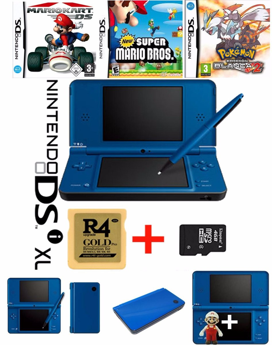 Nintendo Dsi Xl Azul Memoria 30 Juegos Digitales 85 000 En