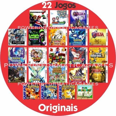 nintendo new 3ds xl 22 jogos originais + capa + película
