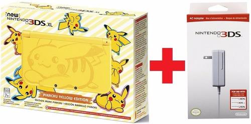 nintendo new 3ds xl pikachu yellow edition + fonte - e-sedex