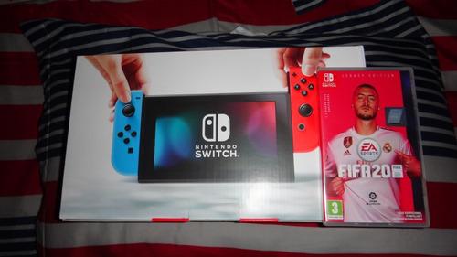 nintendo swicth azul y rojo + fifa 2020 nueva y sellada