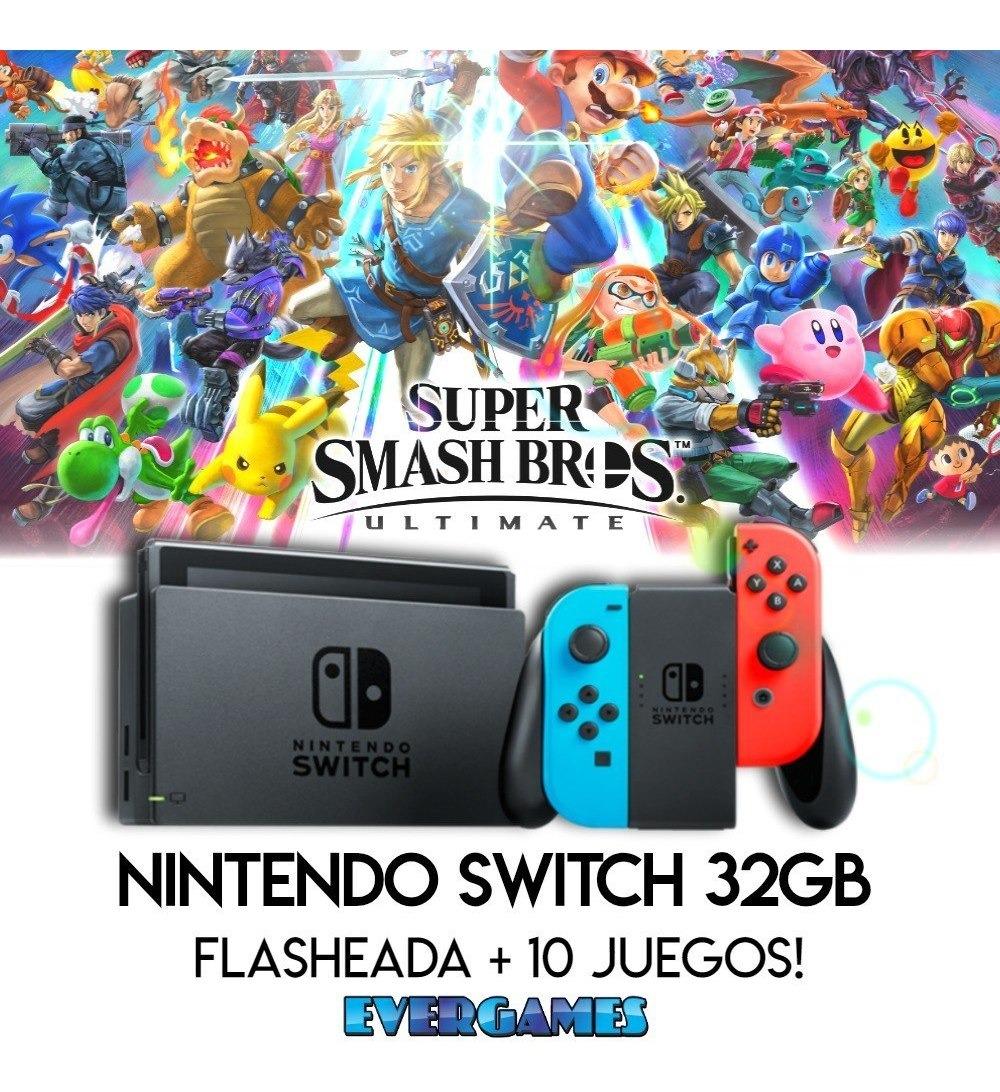 Nintendo Switch 32gb 10 Juegos Jailbreak 2018 Evergames