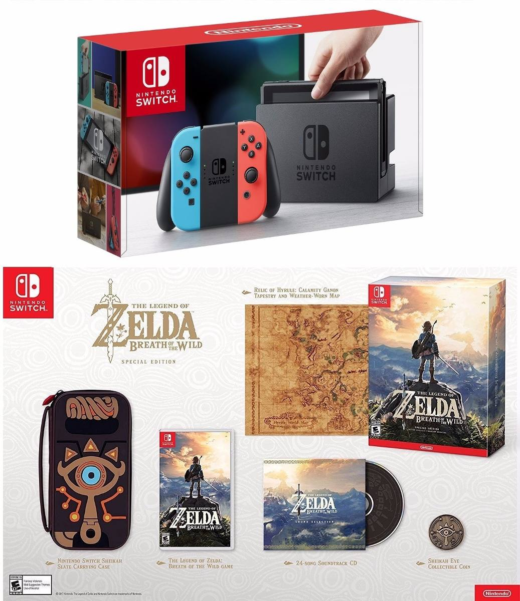 Nintendo Switch 32gb Neon Bundle + Zelda Special Edition ...