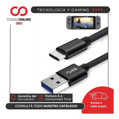 nintendo switch cable cargador 3.0 carga y datos usb