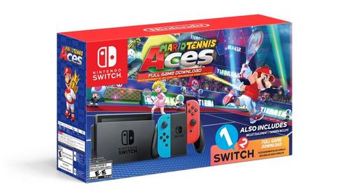 nintendo switch color neon con 2 juegos mario tenis y 1 2 sw
