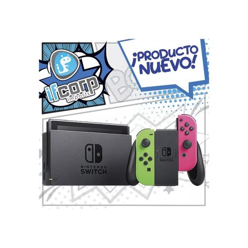 nintendo switch consola splatoon 2 joycon verde rosa bundle