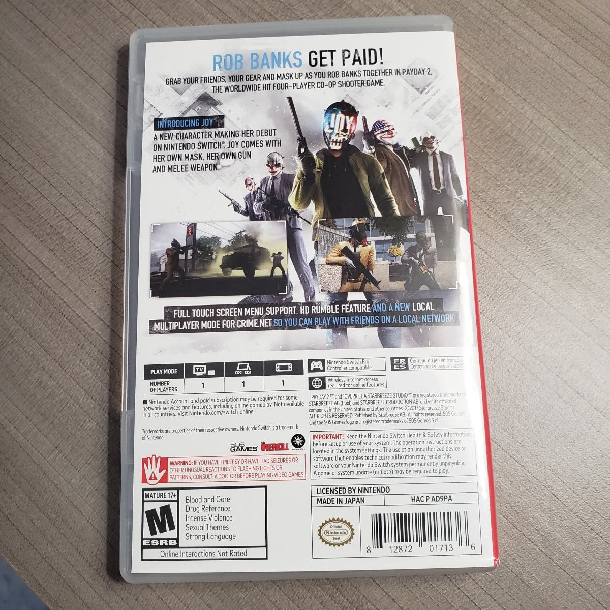Juego Para Consola Nintendo Switch Payday 2 Envio Gratis 899 00