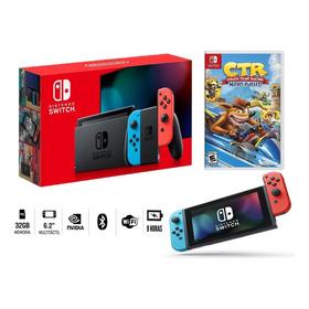 Nintendo Switch Neon Bateria Extendida + Juego Crash Nitro !