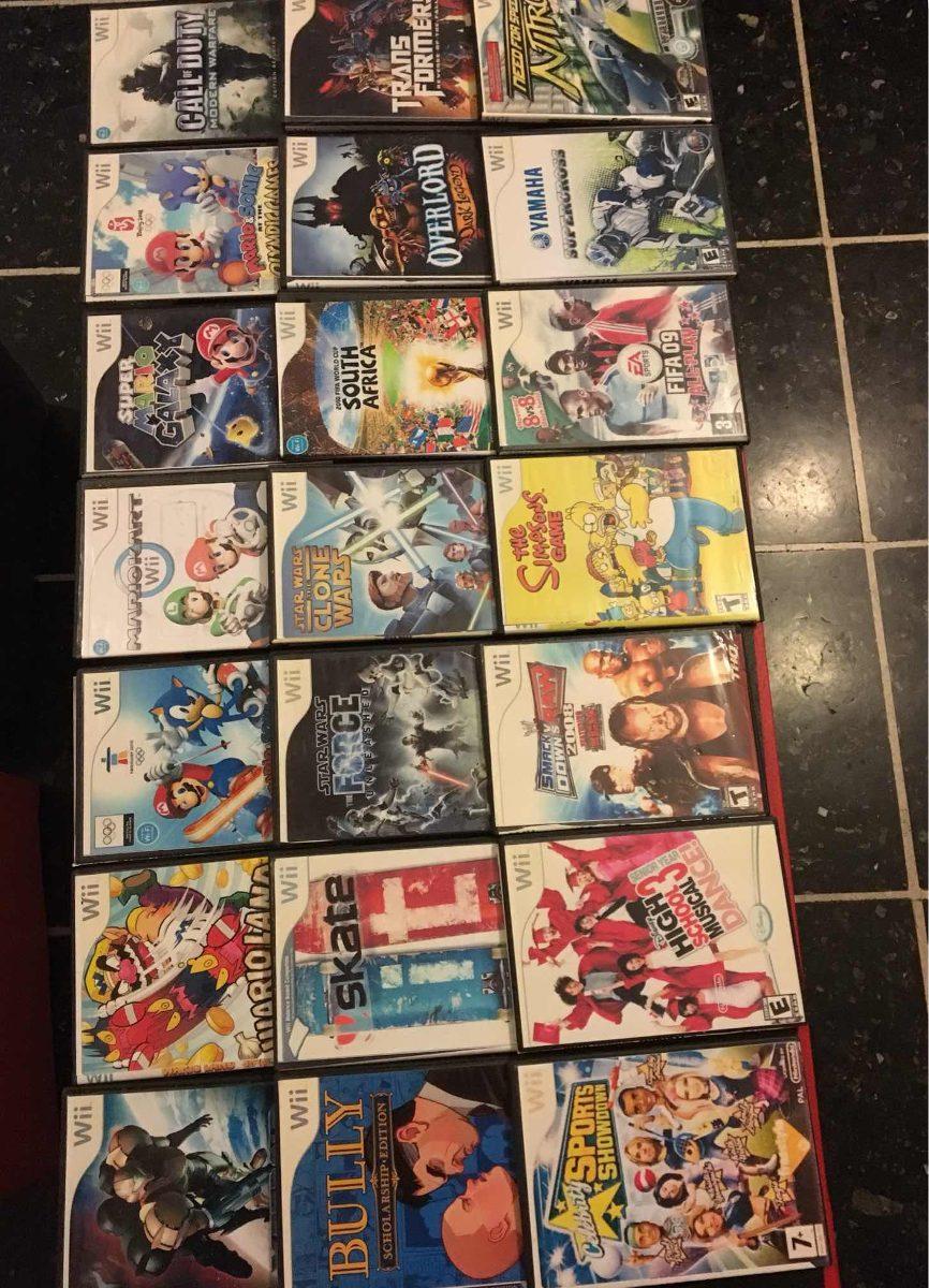 Nintendo Wii 2 Controles Completos 22 Juegos Y Accesorio
