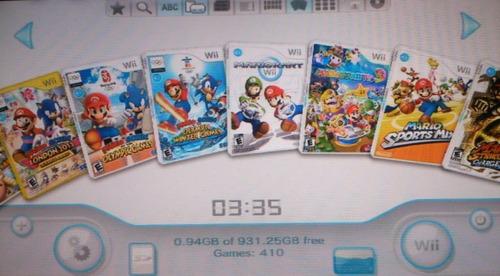 nintendo wii con 410 juegos disco duro usb como nueva