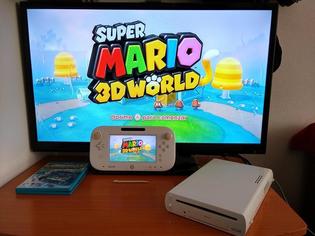 Nintendo Wii U Blanco Con Gamepad Cables Y 5 Juegos 3 350 00