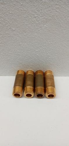 niple de bronce 3/8 npt x 2  ( bolsa 4 u.)