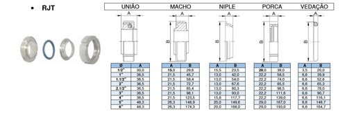 niple rjt 2.1/2 pol inox 304 sanitário