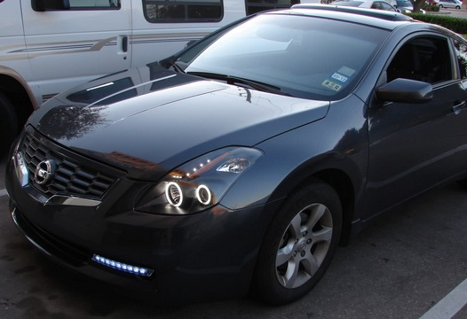 nissan altima coupe 2008 2009 juego faros con ojo de angel 9 en mercado libre. Black Bedroom Furniture Sets. Home Design Ideas