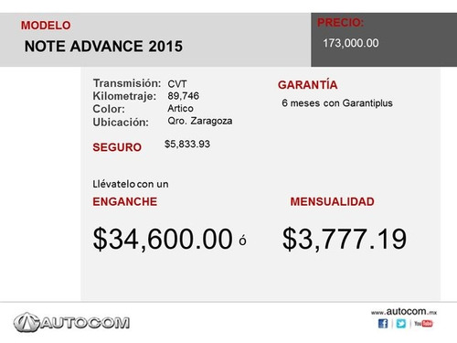 nissan note note advance 2015 seminuevos