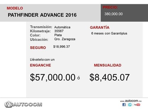 nissan pathfinder pathfinder advance 2016 seminuevos
