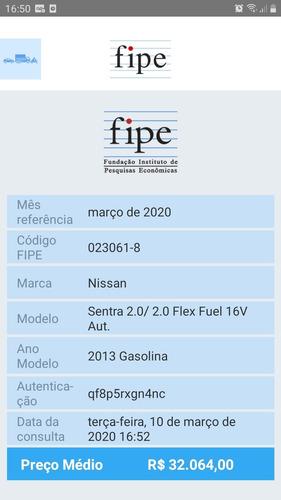 nissan sentra 2.0 flex automático 2013 completo