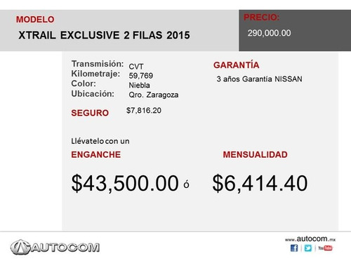 nissan x-trail xtrail exclusive 2 filas 2015 seminuevos