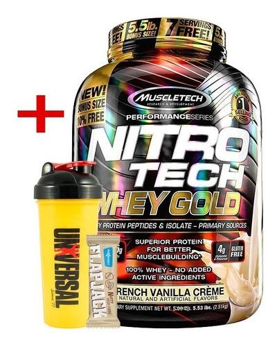 nitro tech 100% whey gold 5.5lb muscletech + shaker + barra