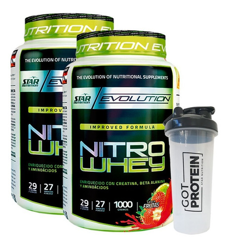 nitro whey 2 x 1kg + vaso - star nutrition