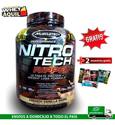 nitrotech ripped whey protein quemador d grasa carnitina cla