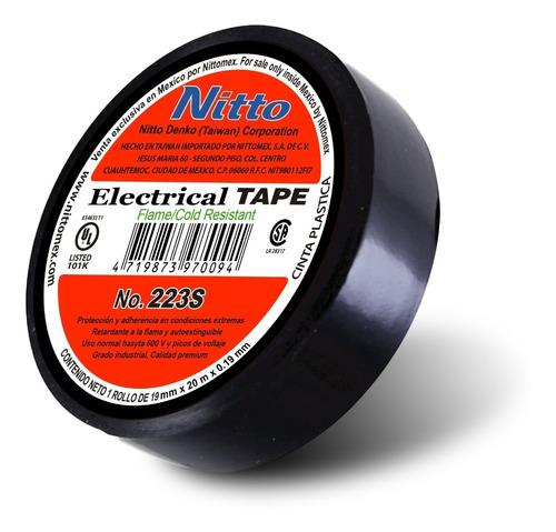 nitto cinta aislante eléctrica n0. 223 gde 19mm x 20m negra