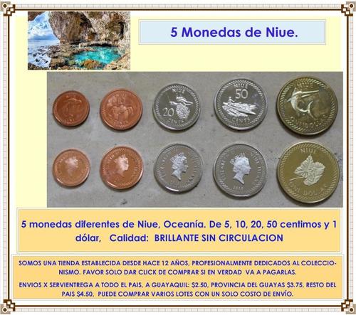 niue oceania juego de 5 monedas nuevas