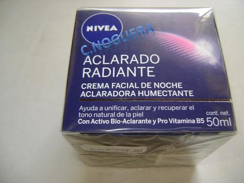 nivea crema facial de noche aclarado radiante  humectante