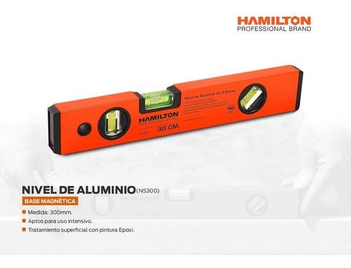 nivel de mano de aluminio 30cm imantado 3 got hamilton ns300