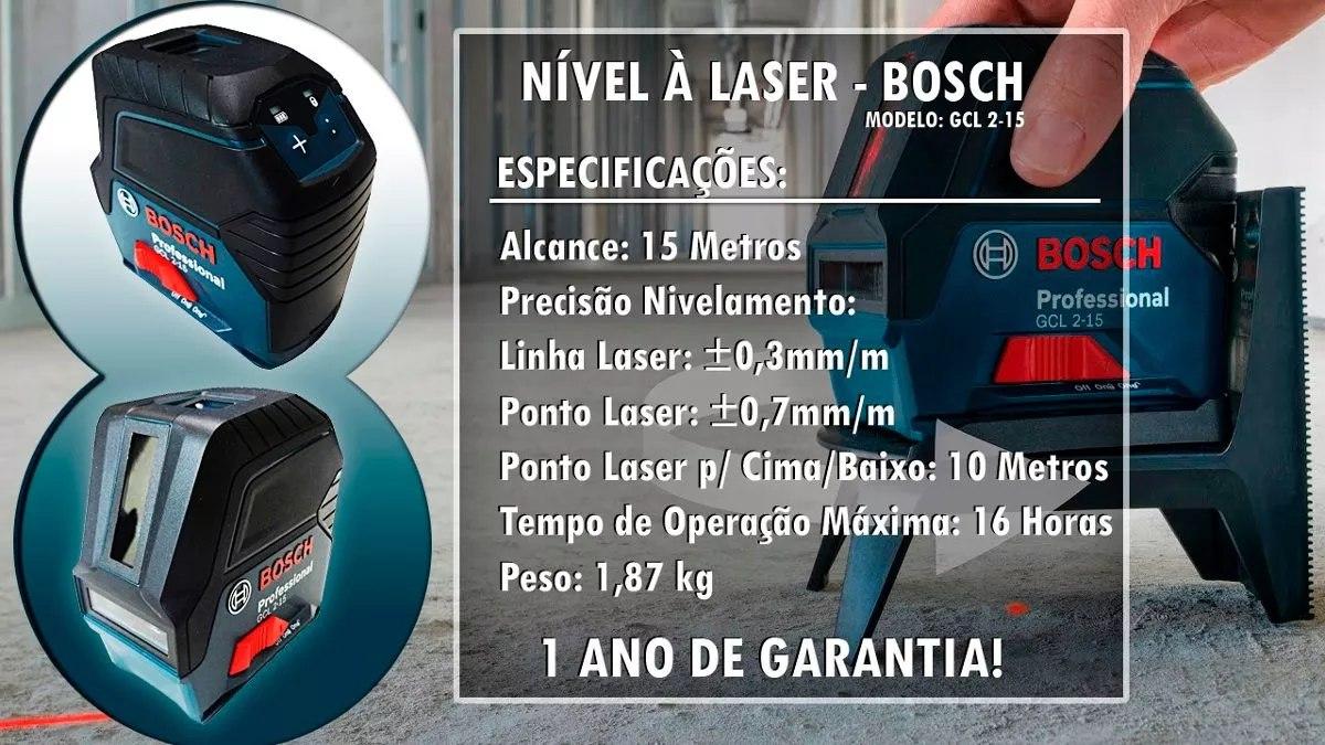 af2a7da9e1b15 Nivel Laser Esquadro Prumo 2x1 Gcl 2-15 Bosch+tripé E Óculos - R ...