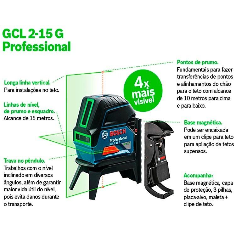Nível Laser Verde Gcl 2-15 G 15 Metros Bosch + Óculos Verde - R  799 ... 4e745ab9e0