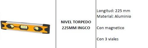 nivel torpedo 225mm ingco