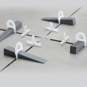 nivelador de piso / porcelanato  1000 clips 2mm + 500 cunhas