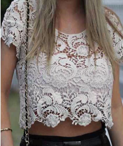 624c70247d5455 No Brasil! Cropped Top Crochet Vazado Boho Renda Guipir Bata - R  45 ...