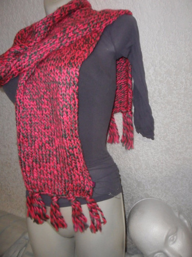 no chemisette bufanda bicolor gris/rosa c/flecos calientita