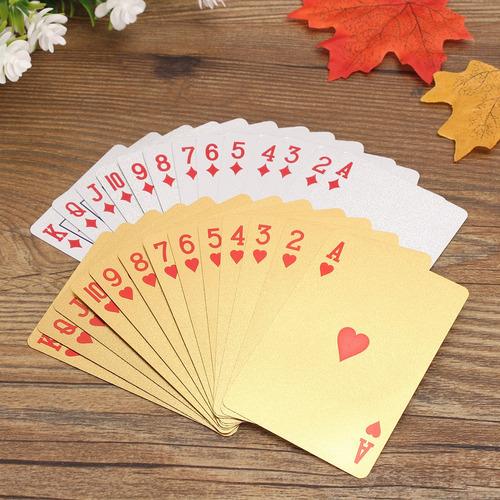 noble classic - juego de 2 cartas de póquer, color dorado y