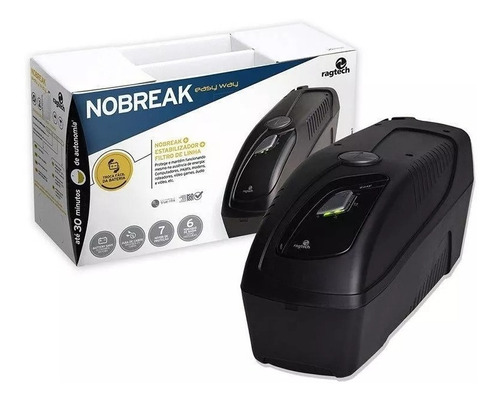 nobreak ragtech bivolt 1200va p/ pc tv ps4 xbox tvs