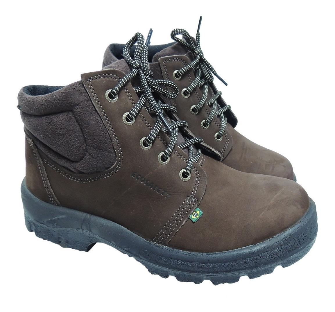 3f9d5ef228 nobuck botina bota segurança bico pvc café marrom ecosafety. Carregando zoom .