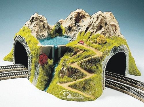 noch tren ho tunel doble curvo p/ maqueta / atlas athearn