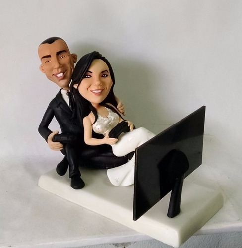 noivinhos caricatura  personalizados biscuit topo de bolo