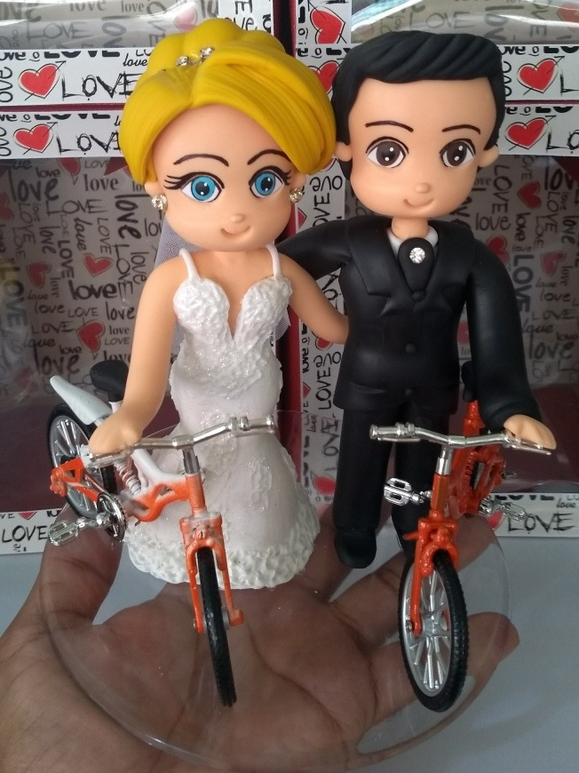 Noivinhos Topo De Bolo Bicicleta Biscuit Casamento Barato R 249