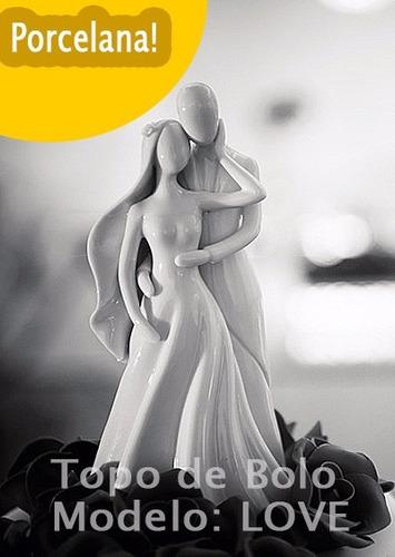 noivinhos topo de bolo porcelana love - pronta entrega