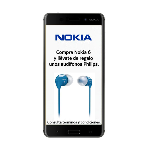 nokia 6 android lte pant. 5.5 fhd 32+3ram 16+8mpx negro