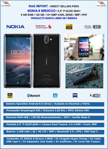 nokia 8 sirocco / 6gb + 128gb / 5.5  qhd+ / mercado pago